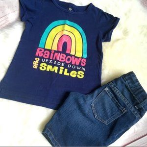 Rainbow 🌈Tee & Shorts Outfit Size 5-6